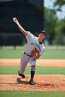 GCL Pirates relief pitcher Austin Shields (43) delivers a pitch during a game against the GCL Tigers West on July 17, 2017 at TigerTown in Lakeland, Florida.  GCL Tigers West defeated the GCL Pirates 7-4.  (Mike Janes/Four Seam Images)
