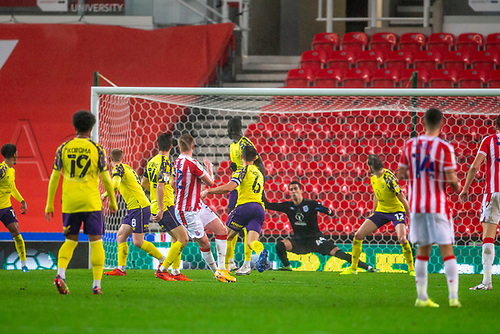 21st November 2020; Bet365 Stadium, Stoke, Staffordshire, England; English Football League Championship Football, Stoke City versus Huddersfield Town; Sam Clucas of Stoke City scores his goal for 4-2 in the 57th minute