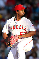 Jerome Williams #57 of the Los Angeles Angels pitches against the San Francisco Giants at Angel Stadium on June 18, 2012 in Anaheim, California. San Francisco defeated Los Angeles 5-3. (Larry Goren/Four Seam Images)