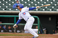 Jonathan Mota #6 of the Iowa Cubs swings against the Omaha Storm Chasers  at Principal Park on May 1, 2014 in Des Moines, Iowa. The Cubs  beat Storm Chasers 1-0.   (Dennis Hubbard/Four Seam Images)