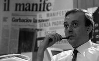 Roma 1990.Redazione quotidiano il Manifesto..Nella foto Vauro Senesi..Foto Livio Senigalliesi