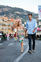Pierre and Caroline walk along the harbour in Villefranche-sur-Mer, France, 7 September 2012