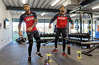 (L-R) Luciano Narsingh and Leroy Fer exercise in the gym during the Swansea City Training at The Fairwood Training Ground in Swansea, Wales, UK. Thursday 28 December 2017