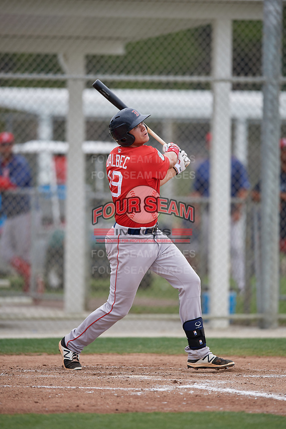 Boston Red Sox Bobby Dalbec (19) bats during a minor league Spring Training intrasquad game on March 31, 2017 at JetBlue Park in Fort Myers, Florida. (Mike Janes/Four Seam Images)