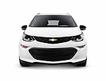 White 2017 Chevrolet Bolt EV electric car front view isolated on white background with clipping path Image © MaximImages, License at https://www.maximimages.com
