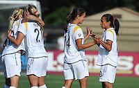 Katie Larkin (18), Johanna Frisk (21), Stephanie Cox (14), Marta (10). The Los Angeles Sol defeated FC Gold Pride, 2-0, at Buck Shaw Stadium in Santa Clara, CA on May 24, 2009.