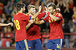 Spain's Carles Gil (l), Jese Rodriguez (r) and Alberto Moreno celebrate goal during international match of qualifying for Euro Under-21 2015.September 09,2013.(ALTERPHOTOS/Acero)