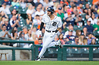 Nick Castellanos (9) of the Detroit Tigers heads towards home plate during the game against the Chicago White Sox at Comerica Park on June 2, 2017 in Detroit, Michigan.  The Tigers defeated the White Sox 15-5.  (Brian Westerholt/Four Seam Images)