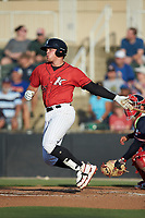 Corey Zangari (25) of the Kannapolis Intimidators follows through on his swing against the Rome Braves at Kannapolis Intimidators Stadium on July 3, 2019 in Kannapolis, North Carolina.  The Braves defeated the Intimidators 13-11, (Brian Westerholt/Four Seam Images)