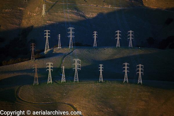 aerial photograph of electrical transmission towers, Santa Cruz County, California