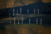 aerial photograph of electrical transmission towers, Santa Cruz County, California