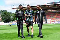 (L-R) Joel Asoro, Bersant Celina and Yan Dhanda  of Swansea City arrive for the pre season friendly match between Exeter City and Swansea City at St James Park in Exeter, England, UK. Saturday, 20 July 2019