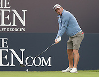 13th July 2021; The Royal St. George's Golf Club, Sandwich, Kent, England; The 149th Open Golf Championship, practice day; Ryan Fox (NZ) prepares to hit his tee shot on the 1st hole