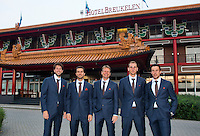 September 10, 2014,Netherlands, Amsterdam, Ziggo Dome, Davis Cup Netherlands-Croatia, Dutch team in front of the hotel, l.t.r: Robin Haase, Jean-Julien Rojer, captain Jan Siemerink, Thiemo de Bakker and Igor Sijsling.<br /> Photo: Tennisimages/Henk Koster