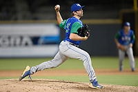 Pitcher Austin Lambright (15) of the Lexington Legends delivers a pitch in a game against Columbia Fireflies on Thursday, June 13, 2019, at Segra Park in Columbia, South Carolina. Lexington won, 10-5. (Tom Priddy/Four Seam Images)