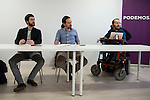 Juanma del Olmo, Pablo Iglesias and Pablo Echenique during PODEMOS meeting with autonomy general and organizational secretaries sat Real Palace in Madrid March 17,2016. (ALTERPHOTOS/Borja B.Hojas)