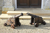BNPS.co.uk (01202) 558833. <br /> Pic: Duke's/BNPS<br /> <br /> Pictured: A pair of late 19th century cannons, with cast iron stepped barrels, on oak carriages sold for £5850<br /> <br /> The contents of a millionaire financier's stately home have sold for over £750,000.<br /> <br /> Dewlish House in Dorset, one of the most beautiful stately homes in Britain, sold recently for only the second time in its 300-year history and its treasures have gone under the hammer.<br /> <br /> The top selling lot was a spectacular Queen Anne gilt mirror similar to one in the V&A Museum which sold for £65,000 including fees.<br /> <br /> A George II giltwood console table, designed in the manner of William Kent, also went for double its estimate at £40,000 hammer, £52,000 including fees.<br /> <br /> A pair of George III Serpentine chest of drawers sold for £39,000 and a rare oak bed dating from the reign of King Henry VIII sold for £26,000.