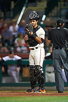 Scottsdale Scorpions catcher Aramis Garcia (8), of the San Francisco Giants organization, during a game against the Salt River Rafters on October 20, 2016 at Scottsdale Stadium in Scottsdale, Arizona.  Scottsdale defeated Salt River 4-1.  (Mike Janes/Four Seam Images)