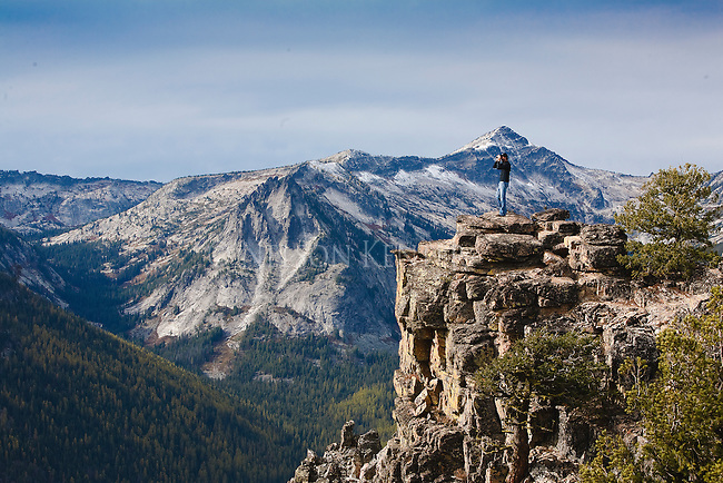 A spectacular view from the steep rocky cliffs at Bear Creek Overlook in the Bitterroot Mountains in Montana