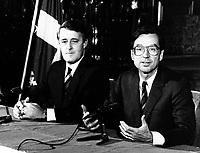 Montreal (QC) CANADA file photo - Dec 13 1985 - Brian Mulroney (L), Robert Bourasse (R) press conference