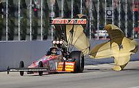 Nov 14, 2010; Pomona, CA, USA; NHRA top fuel dragster driver Cory McClenathan during the Auto Club Finals at Auto Club Raceway at Pomona. Mandatory Credit: Mark J. Rebilas-