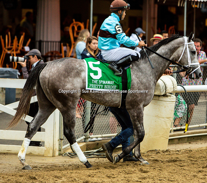 SEPT 05, 2021: PRETTY BIRDIE post parade in the Gr.1 Spinaway Stakes, for 2-year old fillies, going 7 furlongs, at Saratoga Racecourse, Saratoga Springs, New York. Sue Kawczynski/Eclipse Sportswire/CSM