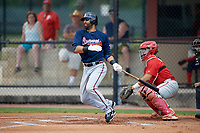 Atlanta Braves third baseman Jose Bautista (1) grounds out in the top of the first inning, in front of catcher Rafael Marchan (6), during a Minor League Extended Spring Training game against the Philadelphia Phillies on April 20, 2018 at Carpenter Complex in Clearwater, Florida.  (Mike Janes/Four Seam Images)
