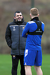 St Johnstone Training…<br />Manager Callum Davidson pictured talking with Liam Craig during training at McDiarmid Park ahead of Saturdays game against Motherwell.<br />Picture by Graeme Hart.<br />Copyright Perthshire Picture Agency<br />Tel: 01738 623350  Mobile: 07990 594431