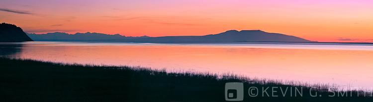 Sleeping Lady (Mt. Susitna, seen across Knik Arm at sunset, summer, Anchorage Alaska.