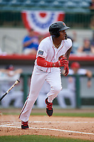 Florida Fire Frogs center fielder Cristian Pache (25) runs to first base during a game against the Daytona Tortugas on April 8, 2018 at Osceola County Stadium in Kissimmee, Florida.  Daytona defeated Florida 2-1.  (Mike Janes/Four Seam Images)