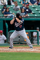 Reno Aces Cody Decker (17) batting during a game against the Fresno Grizzlies at Chukchansi Park on April 8, 2019 in Fresno, California. Fresno defeated Reno 7-6. (Zachary Lucy/Four Seam Images)