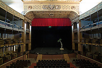 Empty stage inside the historic Teatro Tomas Terry, Cienfuegos, Cuba.