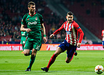 Lucas Hernandez (R) of Atletico de Madrid fights for the ball with Solomon Kvirkvelia of FC Lokomotiv Moscow during the UEFA Europa League 2017-18 Round of 16 (1st leg) match between Atletico de Madrid and FC Lokomotiv Moscow at Wanda Metropolitano  on March 08 2018 in Madrid, Spain. Photo by Diego Souto / Power Sport Images