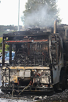 City & County of Swansea Counclil refuse lorry catches fire in Llansamlet, Swansea, Wales, UK. Attended by Mid & West Wales Fire & Rescue Service. Friday 30 September 2016