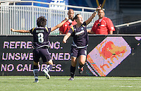 LA Sol's Brittany Bock celebrates her goal with teammate Aya Miyama. The LA Sol defeated the Freedom of Washington 3-1 at Home Depot Center stadium in Carson, California on Sunday afternoon June 7, 2009.   .