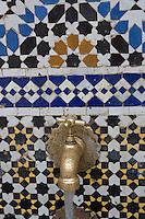 Afrique/Afrique du Nord/Maroc/Fèz: Dans la médina de Fèz-El-Bali détail de la fontaine sur la place en-Nejjarin