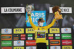 Race leader Slovenian Champion Primoz Roglic (SLO) Team Jumbo-Visma wins Stage 7 and extends his lead in the Yellow Jersey of Paris-Nice 2021, running 119.2km from Le Broc to Valdeblore La Colmiane, France. 13th March 2021.<br /> Picture: ASO/Fabien Boukla | Cyclefile<br /> <br /> All photos usage must carry mandatory copyright credit (© Cyclefile | ASO/Fabien Boukla)
