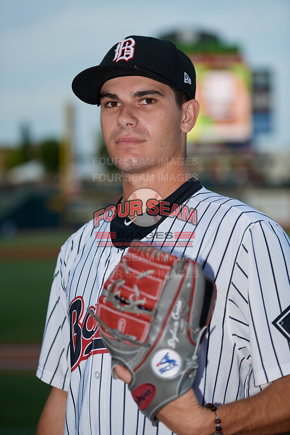 Birmingham Barons pitcher Dylan Cease (29) poses for a photo before a game against the Tennessee Smokies on August 16, 2018 at Regions FIeld in Birmingham, Alabama.  Tennessee defeated Birmingham 11-1.  (Mike Janes/Four Seam Images)