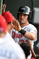 First baseman Tucker Tubbs (33) of the Greenville Drive is greeted after scoring a run in a game against the Kannapolis Intimidators on Wednesday, July 12, 2017, at Fluor Field at the West End in Greenville, South Carolina. Greenville won, 12-2. (Tom Priddy/Four Seam Images)