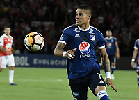 BOGOTÁ - COLOMBIA, 18-09-2018: Ayron del Valle jugador de Millonarios en acción durante partido de ida entre Independiente Santa Fe y Millonarios por los octavos de final de la Copa CONMEBOL Sudamericana 2018 jugado en el estadio Nemesio Camacho El Campín de la ciudad de Bogotá. / Ayron del Valle player of Millonarios in action during first leg match between Independiente Santa Fe and Millonarios for the eight finals of CONMEBOL Sudamericana 2018 cup played at Nemesio Camacho El Campin stadium in Bogotá city.  Photo: VizzorImage / Gabriel Aponte / Staff