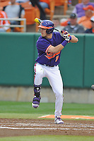 Clemson Tigers right fielder Steven Duggar #9 awaits a pitch during a game against the Florida State Seminoles at Doug Kingsmore Stadium on March 22, 2014 in Clemson, South Carolina. The Seminoles defeated the Tigers 4-3. (Tony Farlow/Four Seam Images)