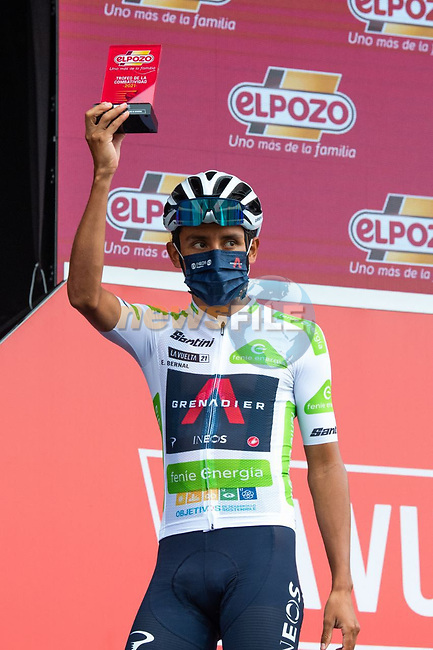 White Jersey Egan Bernal (COL) Ineos Grenadiers most aggressive rider from yesterday's stage at sign on before Stage 18 of La Vuelta d'Espana 2021, running 162.6km from Salas to Alto del Gamoniteiru, Spain. 2nd September 2021.   <br /> Picture: Cxcling | Cyclefile<br /> <br /> All photos usage must carry mandatory copyright credit (© Cyclefile | Cxcling)