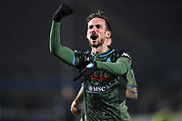 Fabian Ruiz of Napoli celebrates after scoring to give the side a 2-1 lead during the Serie A match at Stadio Mario Rigamonti, Brescia. Picture date: 21st February 2020. Picture credit should read: Jonathan Moscrop/Sportimage PUBLICATIONxNOTxINxUK SPI-0500-0022<br /> Brescia - Napoli<br /> Photo Jonathan Moscrop / Sportimage / Imago / Insidefoto