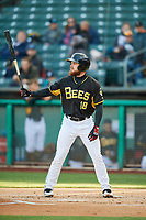 Jared Walsh (18) of the Salt Lake Bees bats against the Sacramento River Cats at Smith's Ballpark on April 12, 2019 in Salt Lake City, Utah. The River Cats defeated the Bees 4-2. (Stephen Smith/Four Seam Images)