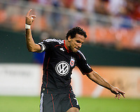 Dwayne De Rosario (7) of D.C. United celebrates his goal  during the game at RFK Stadium in Washington, DC.  D.C. United tied Toronto FC, 3-3.