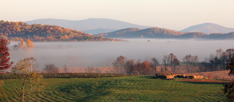 Fog sets through the farmland and landscape in the early morning hours in Madison County, VA. Photo/ Andrew Shurtleff