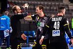 Sieg / High-Five: Kai Haefner (Deutschland #25) ; Marcel Schiller (Deutschland #31) ; re: Jannik Kohlbacher (Deutschland #48) ; ; EHF EURO-Qualifikation / EM-Qualifikation / Handball-Laenderspiel: Deutschland - Estland am 02.05.2021 in Stuttgart (PORSCHE Arena), Baden-Wuerttemberg, Deutschland.<br /> <br /> Foto © PIX-Sportfotos *** Foto ist honorarpflichtig! *** Auf Anfrage in hoeherer Qualitaet/Aufloesung. Belegexemplar erbeten. Veroeffentlichung ausschliesslich fuer journalistisch-publizistische Zwecke. For editorial use only.