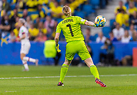 LE HAVRE,  - JUNE 20: Hedvig Lindahl #1 throws the ball during a game between Sweden and USWNT at Stade Oceane on June 20, 2019 in Le Havre, France.