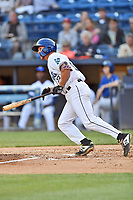 Asheville Tourists designated hitter Willie Maclver (23) swings at a pitch during a game against the Charleston RiverDogs at McCormick Field on April 10, 2019 in Asheville, North Carolina. The  RiverDogs defeated the Tourists 5-3. (Tony Farlow/Four Seam Images)