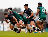 4th June 2021; Galway Sportsgrounds, Galway, Connacht, Ireland; Rainbow Cup Rugby, Connacht versus Ospreys; Tom Daly (Connacht) stops Joe Hawkins (Ospreys) advances